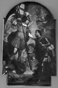 De H. Joris ontvangt de speer om de draak te doden uit handen van de aartsengel Michael
