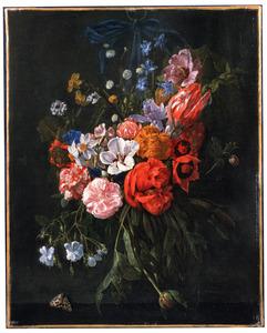 Festoen van bloemen aan een blauw lint