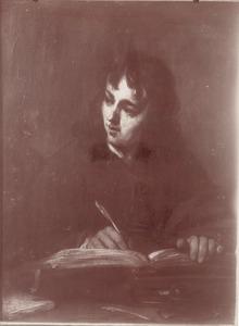 De heilige Johannes zijn evangelie schrijvend