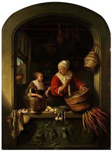 Haringverkoopster en een meisje in een venster