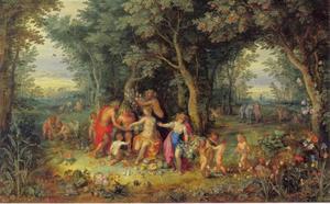 Venus, Cerus en Bacchus in een boslandschap