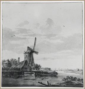 Rivierlandschap met molen en boerderij