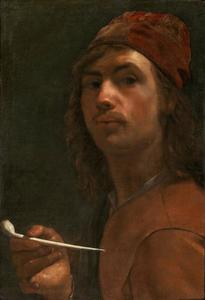 Zelfportret van Michael Sweerts (1618-1664) met een pijp