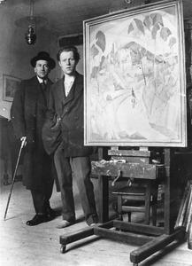 Piet Mondriaan en Lodewijk Schelfhout in het atelier van Conrad Kickert, met op de ezel 'Zicht op de Villeneuve-Les-Avignon' van Schelfhout
