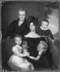 Portret van Jacques Adriaan Christiaan van Nagell (1784-1883) en Justina Maria Wilhelmina Rengers (1795-1863) met hun kinderen