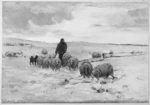 Herder met schaapskudde op winterse heide