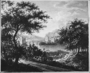 bebost landschap met brug over een rivier
