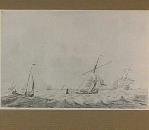 Beurtschip en andere schepen op woelige zee