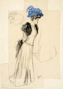 Studieblad met dame met hoed