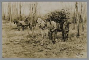 Houtsprokkelaars met paardenkar
