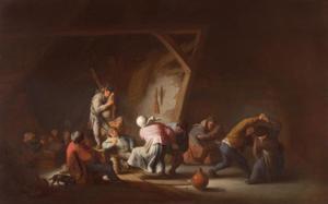 Boerendans in een schuur met een man die doedelzak speelt