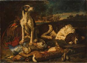 Twee honden bij een jachtbuit van haas en gevogelte in een landschap