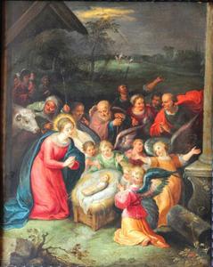 De aanbidding van het Christuskind door engelen en herders; in de achtergrond: de verkondiging aan de herders