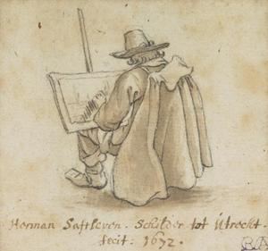 Een kunstenaar voor zijn schildersezel