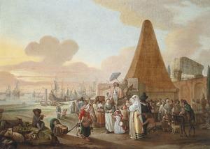 Zuidelijk havengezicht met een kwakzalver bij een pyramide