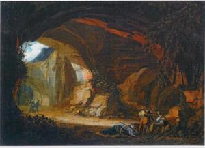 Landschap met grot en struikrovers met hun buit