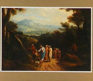 Boslandschap met de voorstelling Christus geneest een blinde