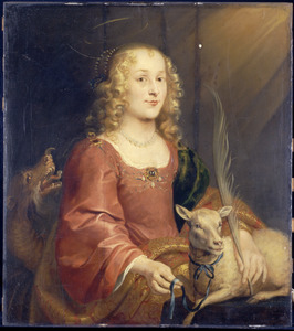 Portret van een jonge vrouw als de H. Agnes