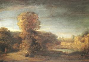 Boslandschap met een ruïne