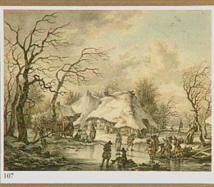 Winterlandschap in Drenthe met soldaten op het ijs