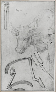 Koe en boerderij gereedschap