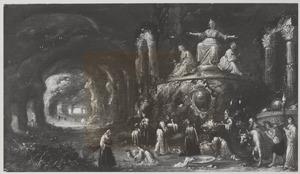 Grotinterieur met  een offerscène voor de beelden van drie godinnen