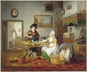 Keukeninterieur met kind in de wieg