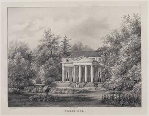 Gezicht op de hofstede Wijkeroog en tuin