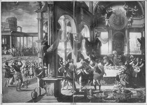 Feestmaaltijd in het paleis van een koning