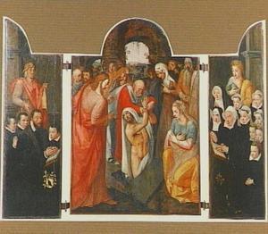 De H. Jacobus met stichters (links), de opwekking van Lazarus (midden), de H. Catharina met stichtsters (rechts)