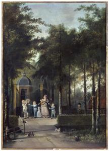 """Portret van Maria Johanna de Bruyn (1764-1858) en haar kinderen voor de buitenplaats """"Sling-Vliet"""" te Doetinchem"""