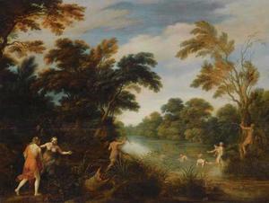 Boslandschap met rivier waarin Diana en haar nimfen baden