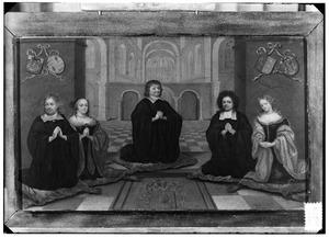 Groepsportret van Arnoud van Beaumont (1605-1678), Johanna van Gogh (....-1669), Godefroy van Wessem de St. Amand (....-1721) en Maria van Beaumont (1640-1708)
