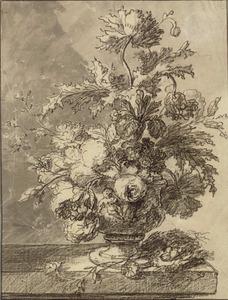 Bloemstilleven in een terracotta vaas, met een mandje eieren