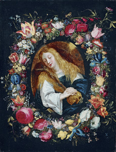 Bloemkrans rond de boetvaardige Maria Magdalena