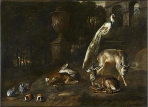 Hertjen, een pauw, marmotten en konijnen in een park