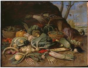 Stilleven van groenten in een landschap