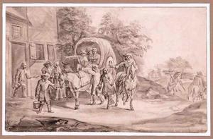 Huifkar en figuren voor een herberg