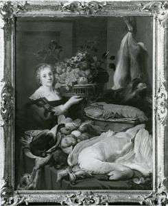 Voorraadkamer met een tafel met jachtbuit  en een dienstmeid ide een mand met fruit ophoudt.