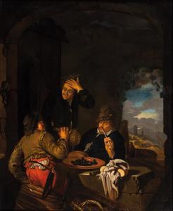 Drie rokende en drinkende mannen in een grot