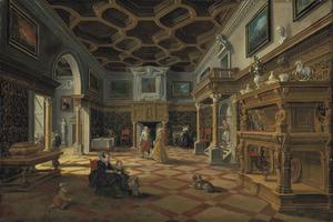 Interieur met elegante figuren