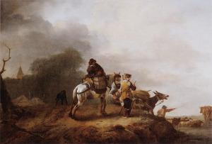 Landschap met reiziegers, pakpaard en ezel bij een doorwaadbare plaats