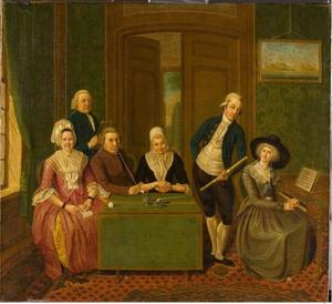Portret van Cornelis Cornelisz. (?-1811), Johanna Dorothea Ring (1764-1816) en hun beider ouders