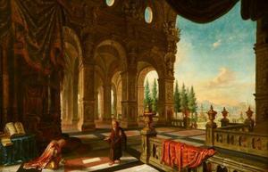 Gefantaseerd paleisinterieur met koning David vermaand door de profeet Nathan (2 Samuel 12:13)