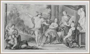 Allegorie met Mercurius, de drie beeldende kunsten, en de Tijd