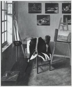 Interieur met schildersezel en uniform