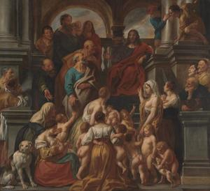 Christus zegent de kinderen: 'Laat de kinderkens tot mij komen' (Mk.10:13-16; Mt.19:13-15; Lk.18:15-17)