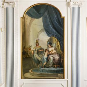 Amor in de gedaante Ascianus betoverd Dido wanneer zij hem omhelsd