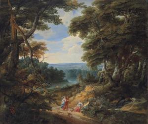 Boslandschap met drie figuren op een landweg