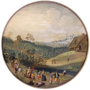 Landschap met activiteiten rond de wijnoogst: de herfst